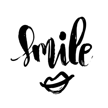 Smile handwritten brush lettering phrase. Modern calligraphy isolated on white background. Poster, banner, card, scrapbooking design  イラスト・ベクター素材