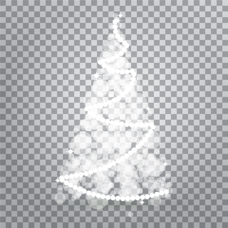 Shiny Christmas tree from Lights Isolated on Transparent Background. Symbol of Happy New Year holiday celebration. Bright light decoration design. Vector