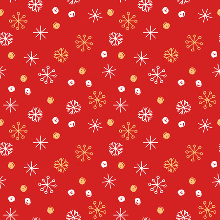 Vector seamless pattern background. Winter gold and white snowflakes and snowballs on red background. Can be used for fashion, textile, scrapbooking, wall paper and decoration projects.