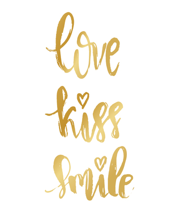 Vector Modern Brush Calligraphy Quote. Golden Love Kiss Smile Hand Lettering Simple Phrase and small heart on white background