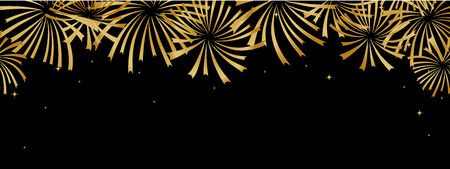 Abstract golden fireworks on black backgrpund Horisontal banner for any holiday design  イラスト・ベクター素材