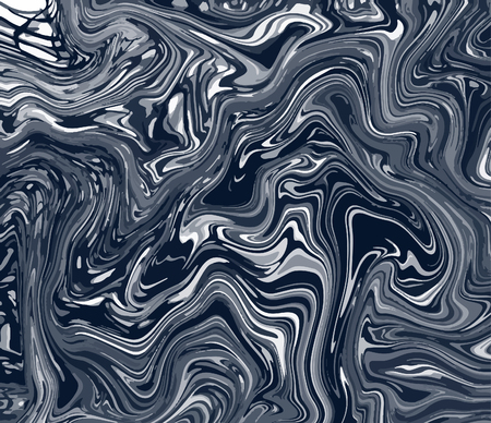 Artistic illustration. Painted black waves. Dark gray marble texture. Decorative wallpaper. Handmade unique background. Vector creative design. Abstract art image.  イラスト・ベクター素材