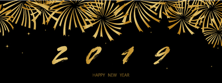 2019 Happy New Year Background texture with golden fireworks. Vector gold text and numbers for holiday greeting card, festive invitation, calendar poster or promo banner. 写真素材 - 127046571