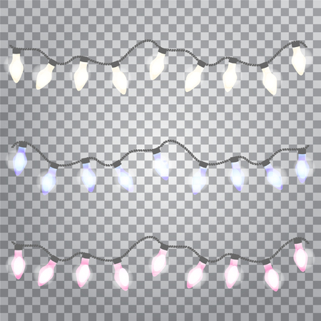 Glowing lights for Holiday greeting card design. Set of color garlands on transparent background. Vector illustration.