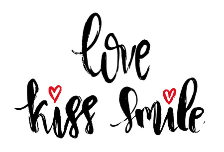 Vector Modern Brush Calligraphy Quote. Love Kiss Smile Hand Lettering Simple Phrase and small heart on white background