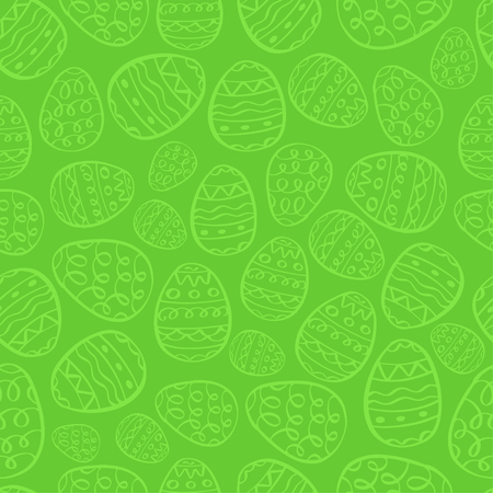 Vector happy easter background. Green eggs cartoon doodle print. Holiday hand drawn seamless pattern