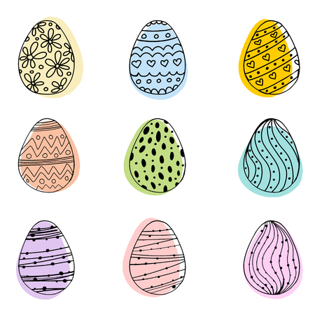 Vector illustration of pastel spring colors doodle egg with handdrawn ornament for Easter holidays design isolated on white background. Greeting card, invitation, poster, banner design