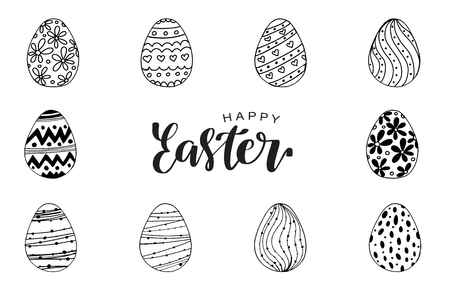 Vector illustration of black doodle egg with handdrawn ornament for Easter holidays design isolated on white background. Greeting card, invitation, poster, banner design