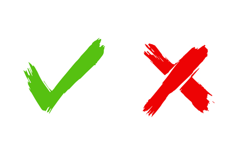 Brush painted Tick and Cross signs. YES and NO icons for vote. Vector illustration of green and red symbols isolated on white background 写真素材 - 126239976