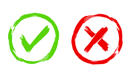 Brush painted Tick and Cross signs. YES and NO icons for vote in circle. Vector illustration of green and red symbols isolated on white background  イラスト・ベクター素材