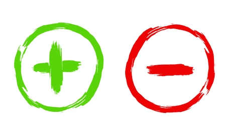 Plus and minus sign illustration in a grunge style. Vector handdrawn brush paint. Green and red symbols. Icons isolated on white background