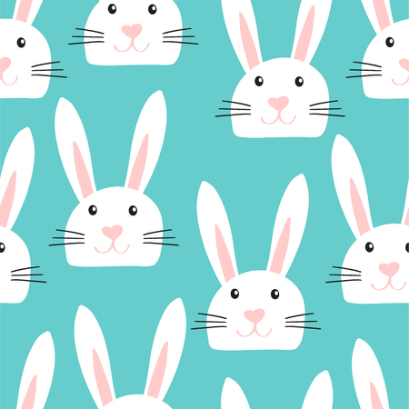 Easter bunny background. Cute seamless pattern with rabbit faces in childish style on blue background. Vector illustration for card, textile, tea towers