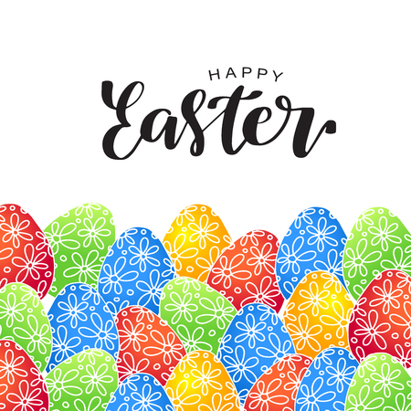 Happy Easter lettering card with bright colorful eggs. Vector illustration for greeting card, poster, banner