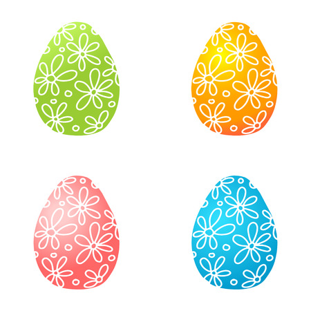 Set of bright colorful Easter eggs. Green, orange, pink and blue christian icons with flowers pattern. Vector illustration.