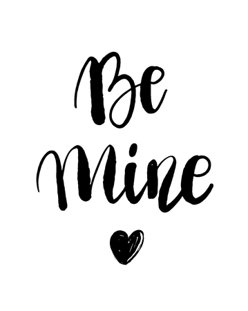 Be mine hand lettering, black ink calligraphy isolated on white background. Happy Valentine s Day vector design for banner, poster, greeting card, tags. 写真素材 - 126239999