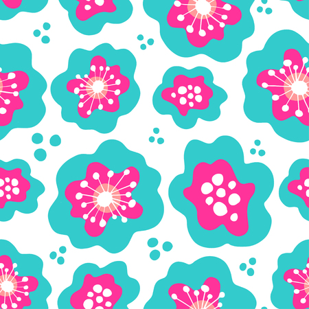 Abstract floral seamless pattern. Red and blue flowerson white background. Can be uset for textile, wallpapers, prints and web design. Vector illustration