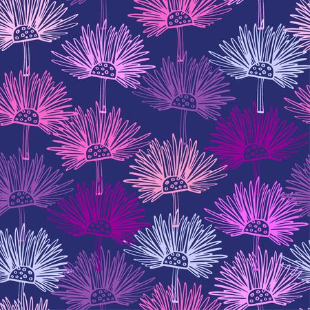 Modèle sans couture avec des fleurs abstraites. Fond floral de chardon écossais. Peut être utilisé pour le textile, les papiers peints, les imprimés et la conception de sites Web. Illustration vectorielle