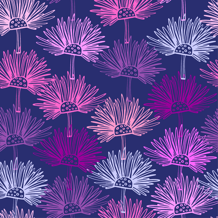 Seamless pattern with abstract flowers. Scottish thistle floral background. Can be uset for textile, wallpapers, prints and web design. Vector illustration Illustration