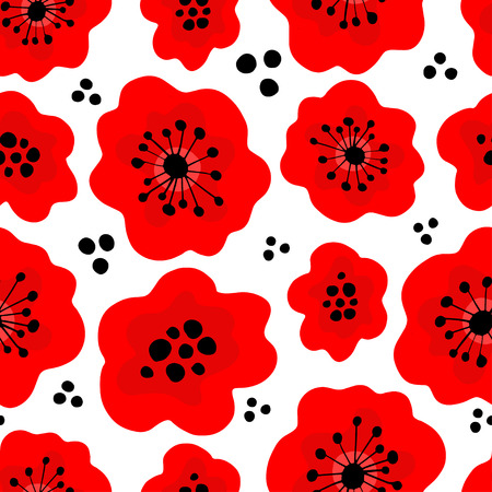 Poppy seamless pattern. Red poppies on white background. Can be uset for textile, wallpapers, prints and web design. Vector illustration.