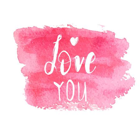 Te amo frase de letras de texto. Cita de caligrafía dibujada a mano en banner pintado con pincel cuadrado acuarela rosa. Ilustración de vector de día de San Valentín gar impresión, tarjeta, web