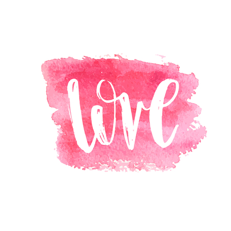 Love Text Lettering Phrase. Handdrawn calligrathy quote on pink watercolor square brush painted banner. Valentines day vector illustration gar print, card, web