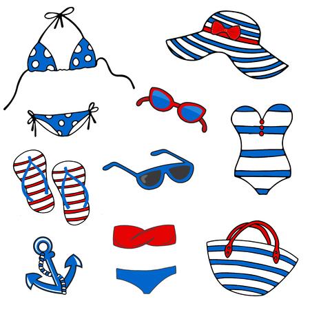 846b05dbd1 Striped blue, white and red beach accessories in a marine style. Female  summer bikini