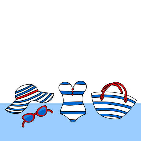 Cute sea card background. Vector text with beach accessories in a marine style. Female summer bikini swimsuit, hat, bag, sunglasses, on white background Иллюстрация