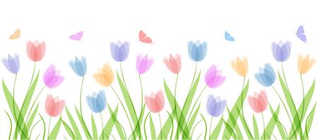 Modello di sfondo vettoriale con farfalle e tulipani di colori pastello disegnati a mano. Testo dell'iscrizione Benvenuta primavera. Elementi per il design, scrapbooking, packaging, carta da parati Vettoriali