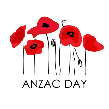 ANZAC DAY. Corpo d'armata dell'Australia Nuova Zelanda. Testo dell'iscrizione di vettore e fiori del papavero rosso su fondo bianco