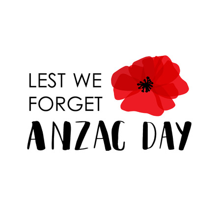 ANZAC DAY. Australia New Zealand Army Corps. Vector lettering text and red poppy flowers on white background