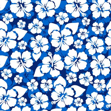 Hibiscus naadloze achtergrond. Aloha Hawaiiaans overhemdontwerp. Vectorillustratie voor kleding, textiel in blauwe en witte kleuren