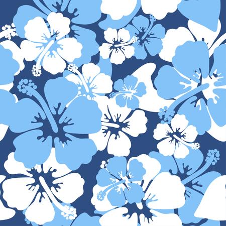 Fondo senza cuciture dell'ibisco. Design della camicia hawaiana Aloha. Illustrazione vettoriale per abbigliamento, tessile nei colori blu e bianco