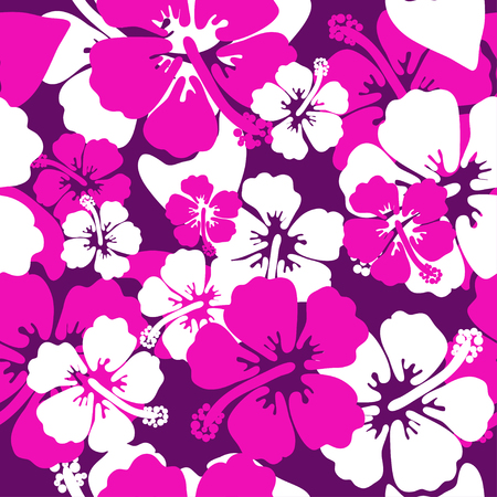 Hibiscus seamless background. Aloha Hawaiian shirt design. Vector illustration for clothing, textile in pink violet and white colors