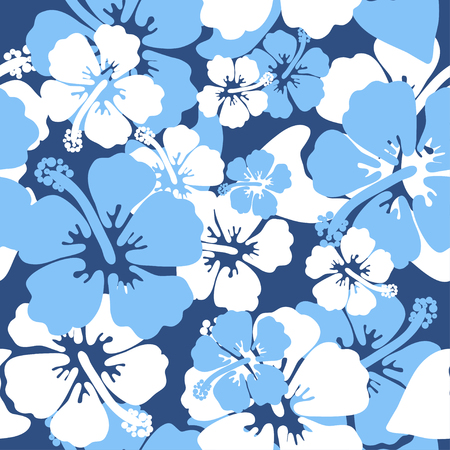 Hibiscus seamless background. Aloha Hawaiian shirt design. Vector illustration for clothing, textile in blue and white colors