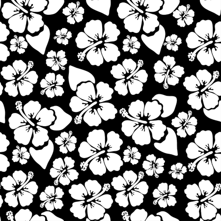 Hibiscus seamless background. Aloha Hawaiian shirt design. Vector illustration for clothing, textile in black and white colors Ilustração