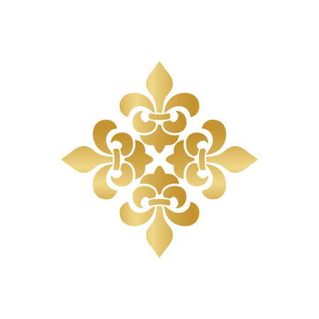 Cross of Lilies, Royal heraldic cross. Fleur de Lis sign, musketeer icon. Vector gold element on white background
