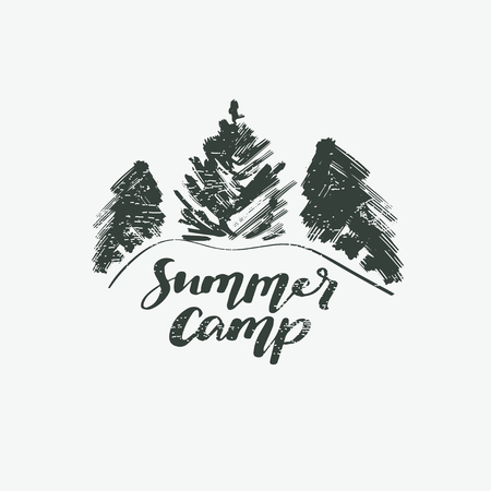 Summer camp logotype or badge. Vector illustration. Concept for shirt or logo, print, stamp.. Vintage typography design with lettering text and forest silhouette.