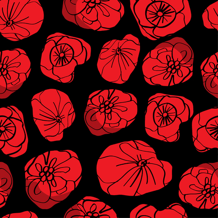 Poppy seamless pattern. Red poppies on black background. Can be uset for textile, wallpapers, prints and web design. Vector illustration