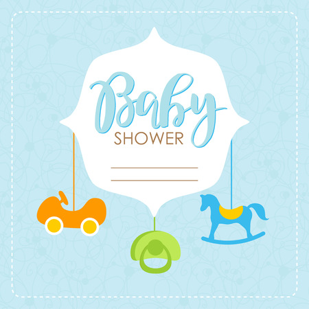 Cute baby shower arrival card with colorful boy toys on blue background. Design template for greeting, invitation, banner. Congratulations to the newborn boy. Vector illustration in flat style.