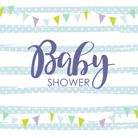 Cute baby shower arrival card with colorful garland on striped polka dot background. Design template for greeting, invitation, banner. Congratulations to the newborn boy. Vector illustration in flat style.