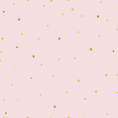 Seamless pattern with small gold hearts on pink background. Fashion style. Design backdrop for Textile, wallpaper, scrapbooking, wedding invitation card. Vector illustration for Mother or Valentines day