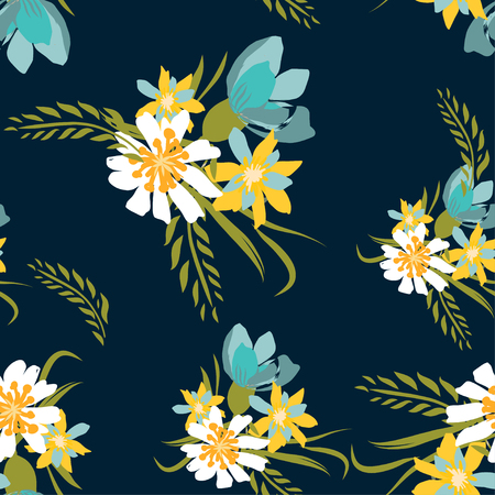 Seamless pattern with small flowers on a dark background. Modern and Trendy fashionable floral texture for fabric, wallpaper, interior, tiles, print, textiles, packaging and various types of design.