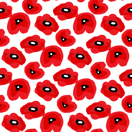 Poppy seamless pattern. Red poppies on white background. Can be uset for textile, wallpapers, prints and web design. Vector illustration  イラスト・ベクター素材