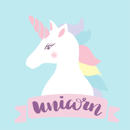 Unicorn head silhouette . Vector hand drawn Inspirational illustration for print, banner, poster. Magic everywhere
