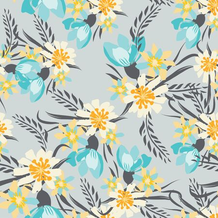 Vintage Seamless pattern  with flowers. Hand drawing illustration