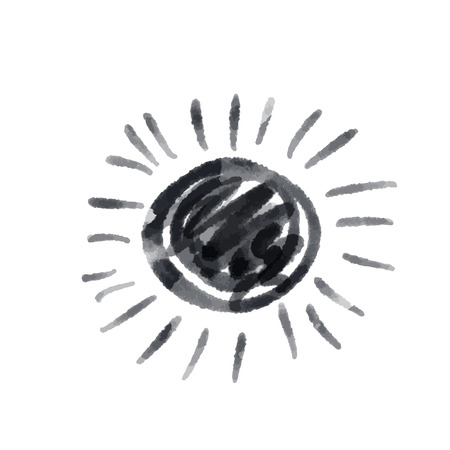 Cute cartoon drawing sun . Vector black and white symbol. Isolated hand drawn monochrome doodle icon on white background.  イラスト・ベクター素材
