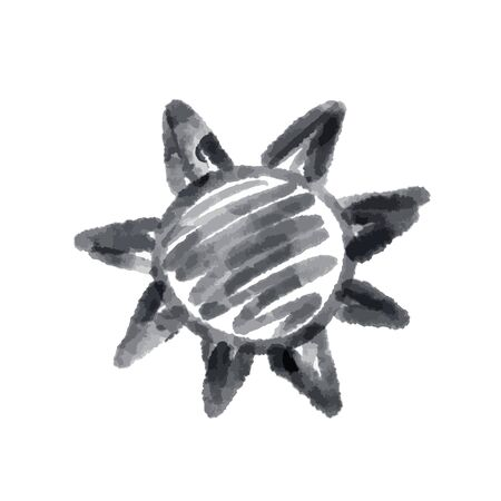 Cute cartoon drawing sun . Vector black and white symbol. Isolated hand drawn monochrome doodle icon on white background. 写真素材