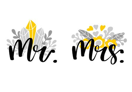 Mr and Mrs lettering. Wedding invitation design with floral composition. Couple modern calligraphic sign. Vector illustration 스톡 콘텐츠
