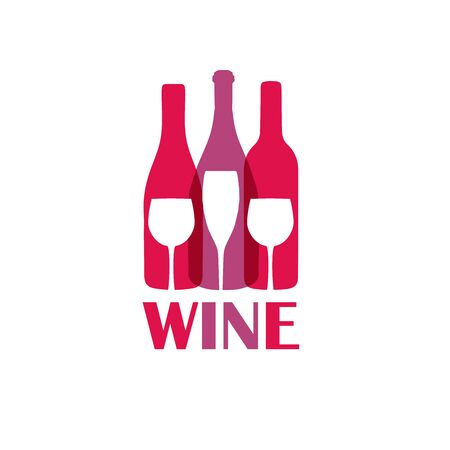 Abstract colorful logo design template. Wine bottle and glass vector icon. Concept for bar menu, party, alcohol drinks, celebration holidays.