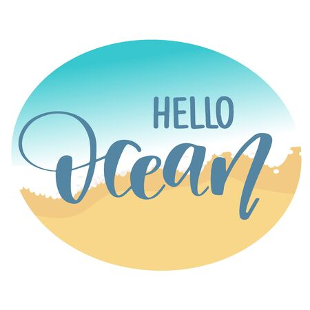 Hand drawn lettering quote - Hello Ocean. Summer vacations poster with text, water splashes and fishes on watercolor imitation background. Can use for print greeting cards, totes, posters and tshirts